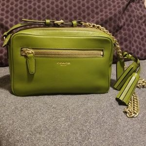 COACH green leather cross body with gold chain.